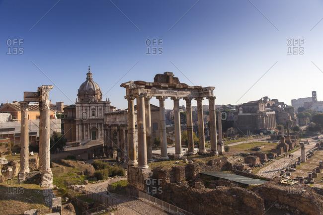 Temple di Saturno, The Roman Forum, UNESCO World Heritage Site, Rome, Lazio, Italy