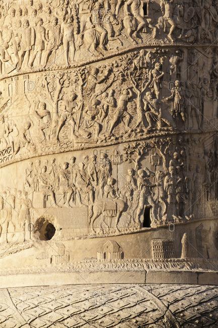 Detail of Trajan's Column, Rome, Lazio, Italy