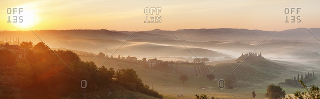 Farm house Belvedere at sunrise, near San Quirico, Val d'Orcia (Orcia Valley), UNESCO World Heritage Site, Siena Province, Tuscany, Italy