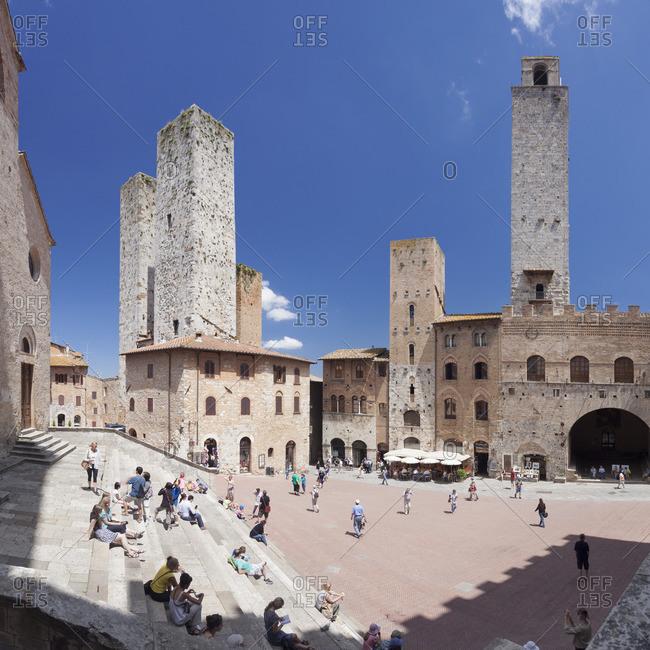 Siena, Tuscany, Italy - March 3, 2010: Piazza Duomo, San Gimignano, UNESCO World Heritage Site, Siena Province, Tuscany, Italy