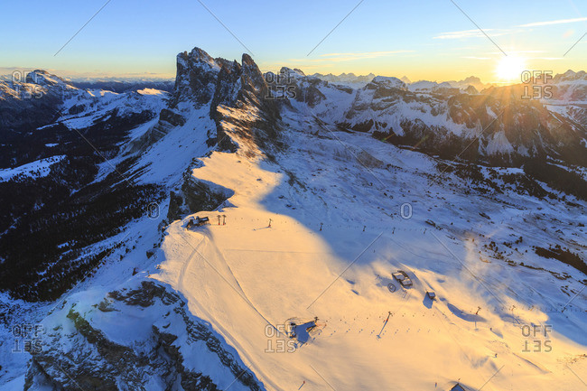 Aerial view of the Odle at sunset, Gardena Valley, Dolomites, Trentino-Alto Adige, Italy
