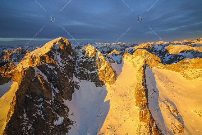 Aerial view of peak Cengalo at sunset, Masino Valley, Valtellina, Lombardy, Italy