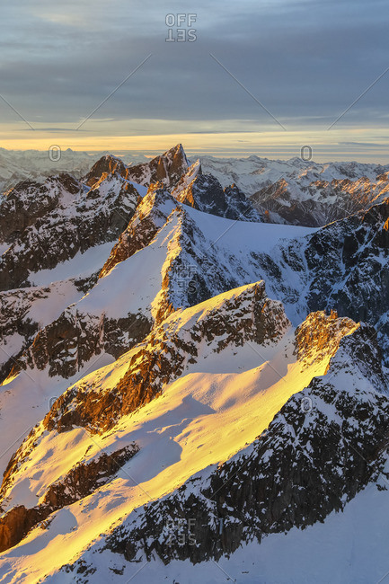 Aerial view of peaks of Ferro and Cengalo at sunset, Masino Valley, Valtellina, Lombardy, Italy