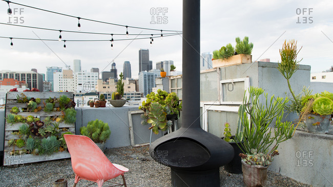 Rooftop garden and fireplace in Los Angeles, California