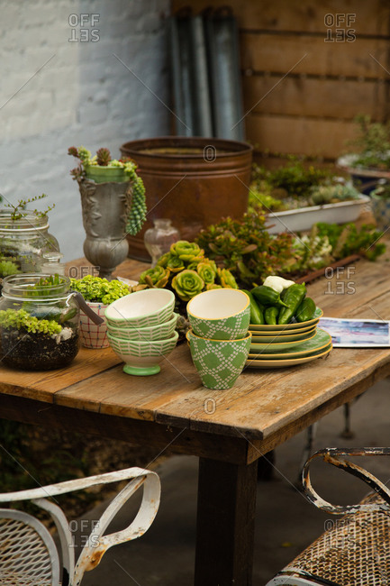 Garden table with plants and pottery