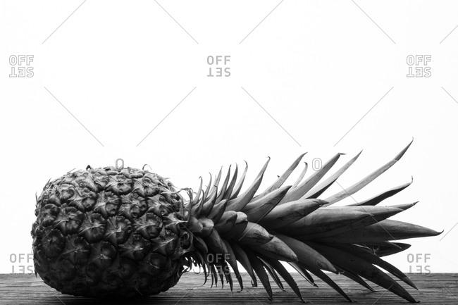 Pineapple lying on its side