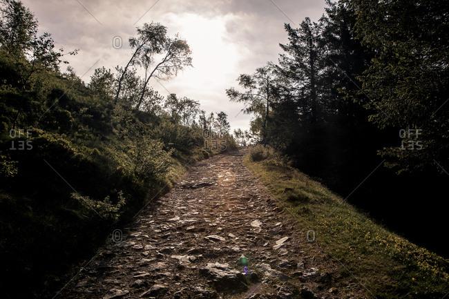 Stone trail in an Italian mountain setting