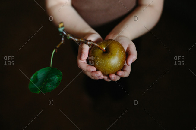 Overhead view of child holding a single apple