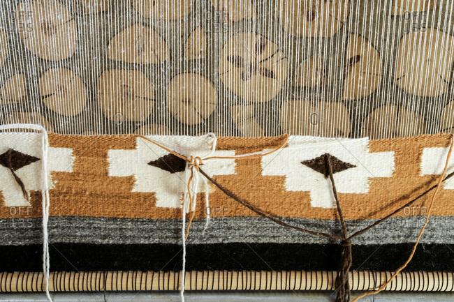 Navajo rug being woven, El Morro, New Mexico, USA