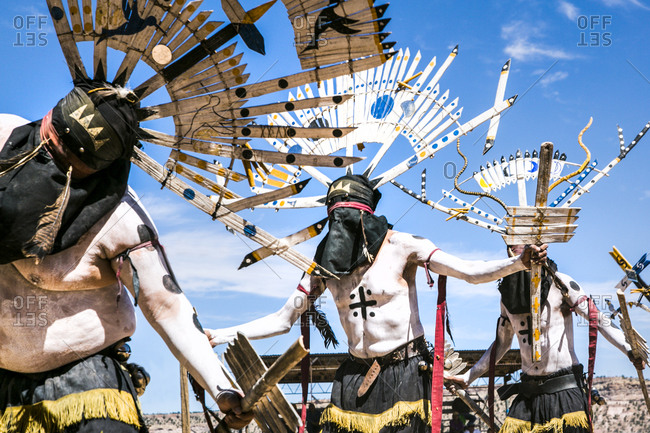 Window Rock, AZ, USA - September 9, 2015: White Mountain Apache Crown Dancers embody the mountain spirits and dance for protection of their peoples, Navajo Nation Fair, Navajo Nation, Window Rock, AZ, USA