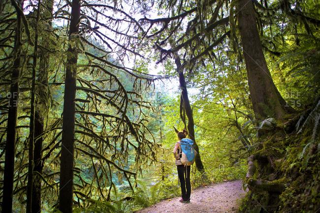 Woman Hiking Eagle Falls Trail