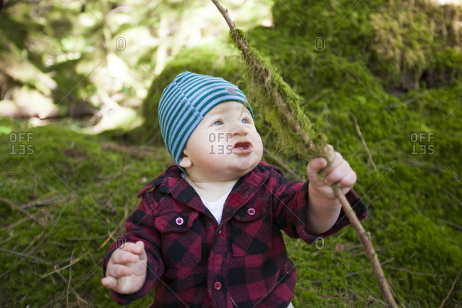 A young boy holds a tree branch that is covered in green moss