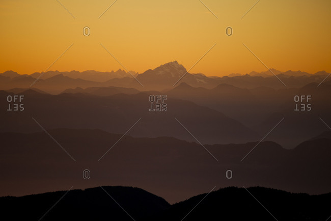 Layers of mountains just north of the Fraser Valley, British Columbia, Canada