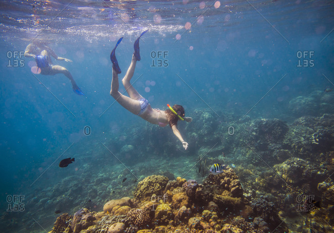 Two Young Woman Snorkeling in Ocean