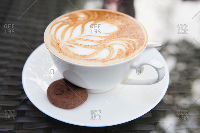 Cappuccino with froth designs