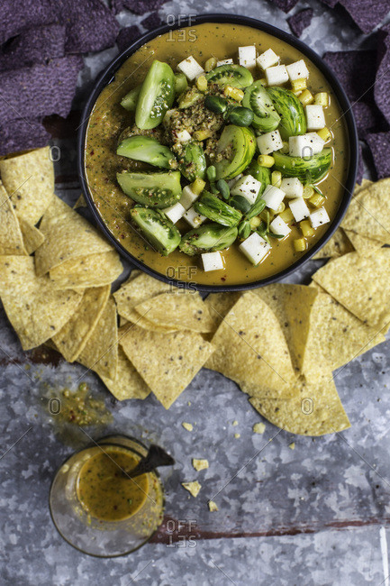 Kohlrabi salsa and tortilla chips