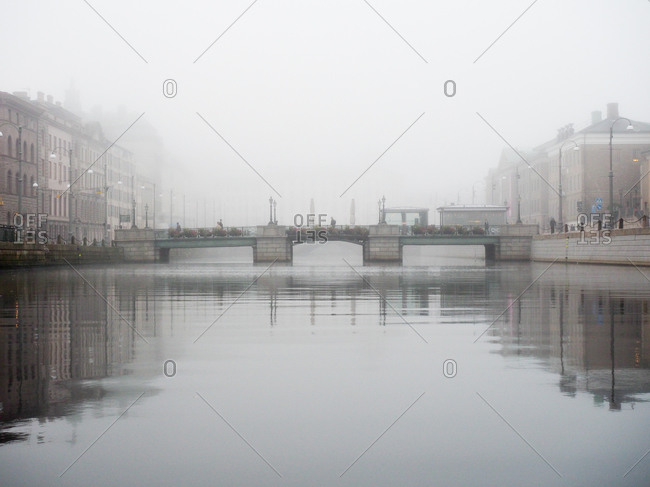 Foggy waterfront at Brunnsparken Square in Gothenburg, Sweden