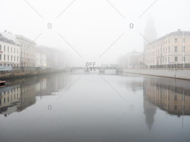 Foggy waterfront at Gothenburg, Sweden