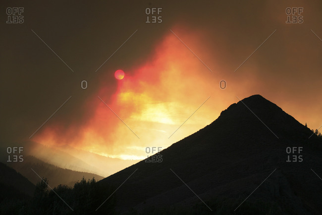 Fire and smoke at Castle Rocks State Park, Idaho