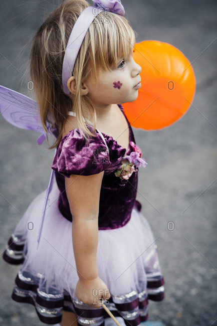 Little girl dressed as a butterfly for Halloween