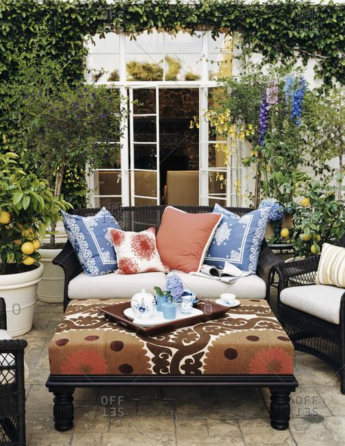 Luxury patio furniture on back terrace