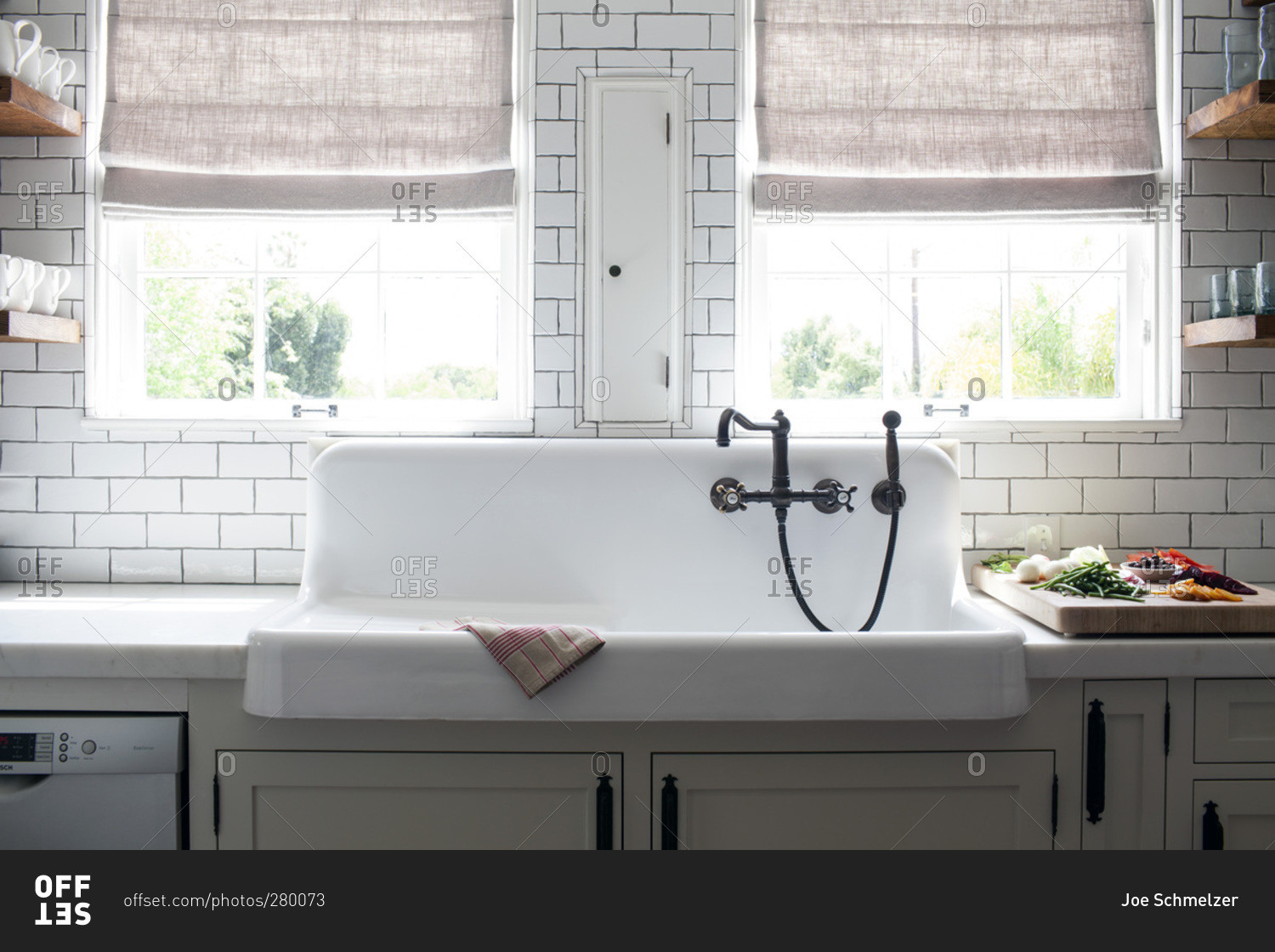 Rustic white porcelain apron kitchen sink with rubbed oil bronze ...