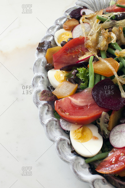 Close up of healthy fresh colorful salad