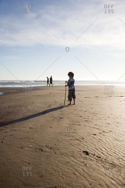 Boy standing on the beach holding big stick