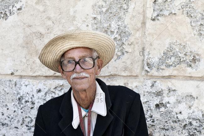 Havana, Cuba - January 26, 2010: Portrait of musician in old Havana, Cuba