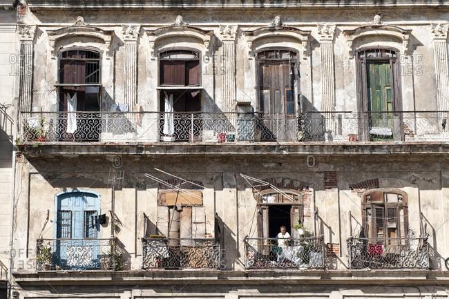 Havana, Cuba - January 26, 2010: Decaying apartment building in Havana, Cuba