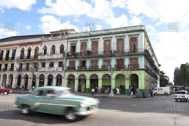 Colonial buildings and street in Havana, Cuba