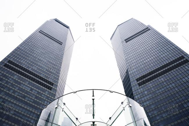 Twin office buildings from below, Shanghai