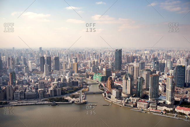 View of Shanghai at the mouth of a river