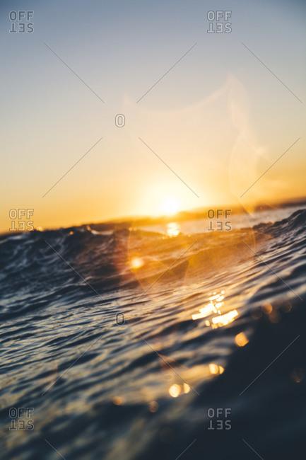 Warm sunset at sea in Queensland, Australia