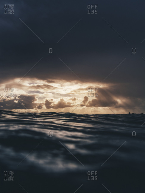 Dramatic sunset in Queensland out at sea