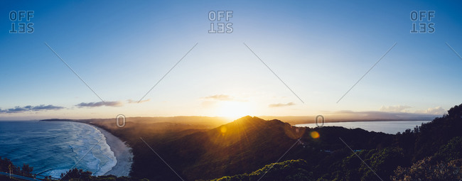 Panoramic sunset over Byron Bay, New South Whales, Australia