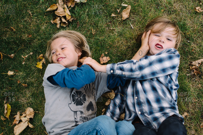 Overhead view of two brothers tussling on grass