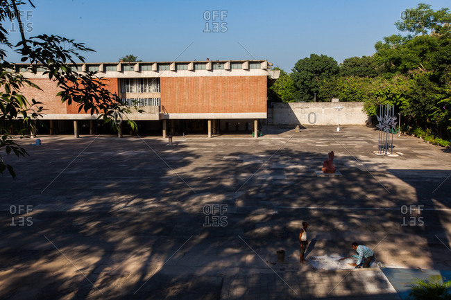 Chandigarh, India - September 30, 2015: Museum and Art Gallery, designed by Le Corbusier, Chandigarh, India