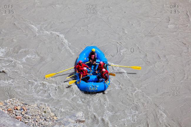 Himachal Pradesh, India - July 1, 2014: Rafting on Spiti river, Himachal Pradesh, India