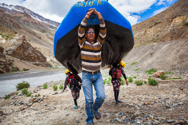 Himachal Pradesh, India - July 1, 2014: Rafting on Spiti river, Himachal Pradesh, India