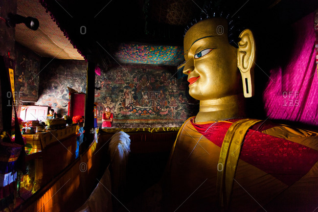 Shey, Ladakh, India - August 30, 2010: Statue of Buddha in the Shey Monastery
