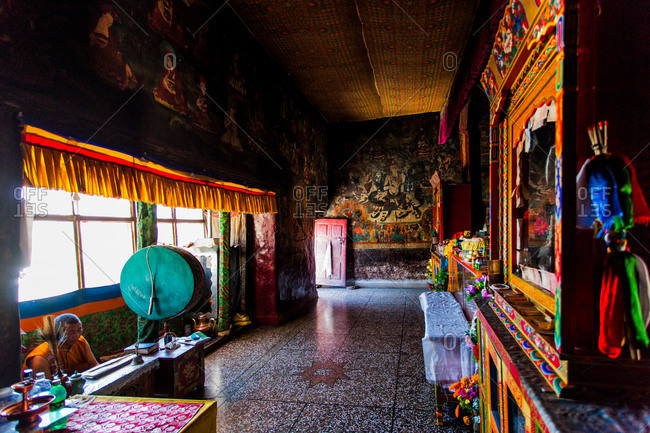 Shey, Ladakh, India - August 30, 2010: Room in front of the statue of Buddha in the Shey Monastery