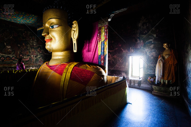 Shey, Ladakh, India - August 30, 2010: Statue of Buddha inside Shey Monastery