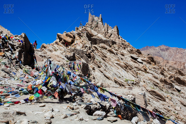 Buddhist prayer flags in the Himalayan desert region of northern India
