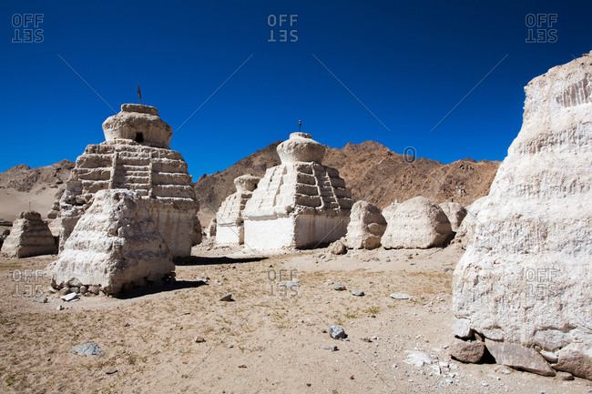 Shey, Ladakh, India - August 30, 2010: Chortens, or stapes, in northern India