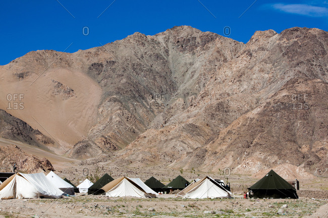 Tent dwellings and hills