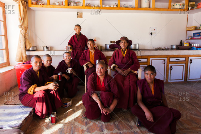 Shey, Ladakh, India - August 30, 2010: Buddhist nuns in Druk Gompa