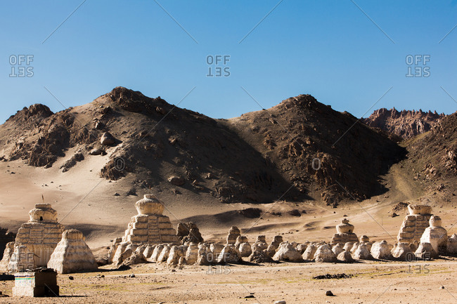 Shey, Ladakh, India - August 30, 2010: Stupas, or chortens, in northern India