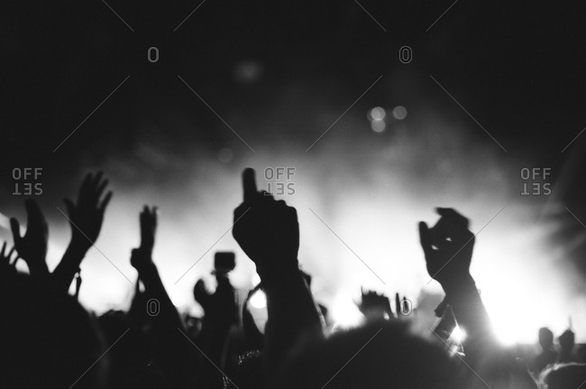 Silhouettes of crowd at a concert