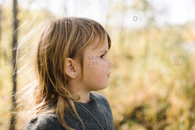 Little girl with windblown hair